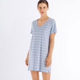Hanro - Laura kjole 85 cm bomuld dreamy blue stripe