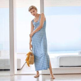 Hanro - Laura kjole 130 cm uden ærme dreamy blue stripe