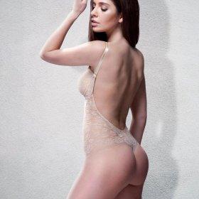 Ender Legard - Uma body med dyb ryg french beige