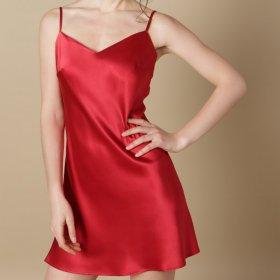 Marjolaine - Soie Unie ODA silkekjole rouge