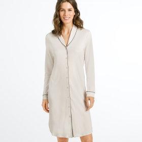 Hanro - Natural Comfort kjole 100 cm 1/1 ærme almond -