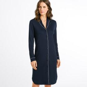 Hanro - Natural Comfort kjole 100 cm 1/1 ærme deep navy-
