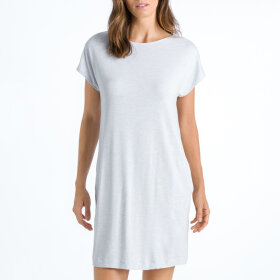 Hanro - Natural Elegance kjole 90 cm kort ærme celestial blue
