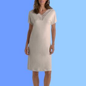 Hanro - Irini natkjole kort ærme 100 cm fullmoon