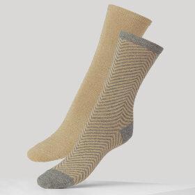 DEAR DENIER -  Mei 2 stk Soft Herringbone sok grey/gold og gold