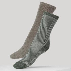 DEAR DENIER - Mei 2 stk Soft Herringbone sok grey/green og grey
