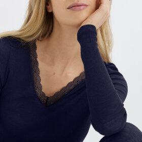 Hanro - Woolen Lace T-shirt langt ærme intense blue